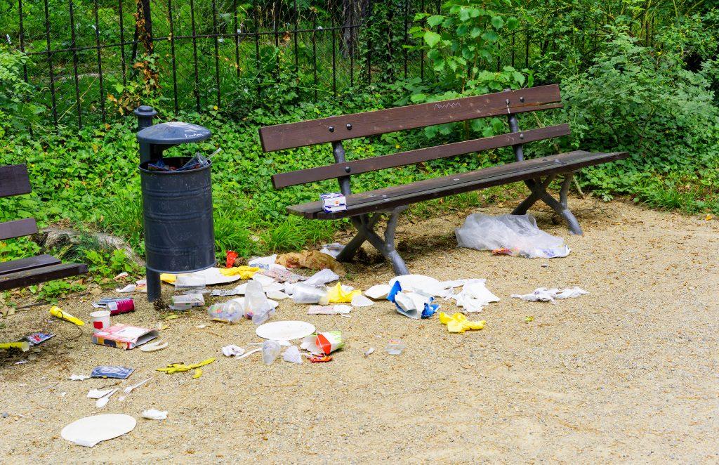 herumliegender Müll in Park